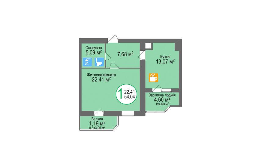 Купити квартиру №38, 1-кімнатна