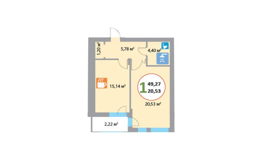 Купити квартиру №7, 1-кімнатна