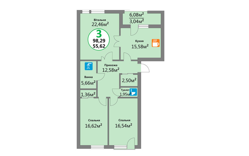 Купити квартиру №6, 3-кімнатна