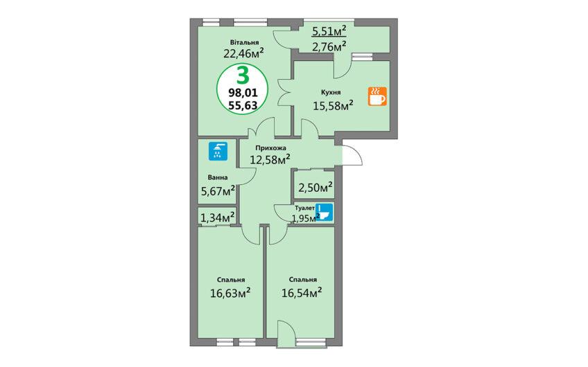 Купити квартиру №3, 3-кімнатна