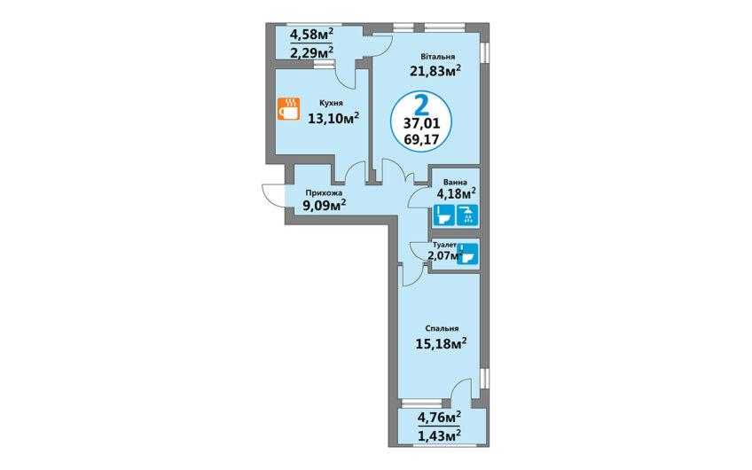 Купити квартиру №1, 2-кімнатна