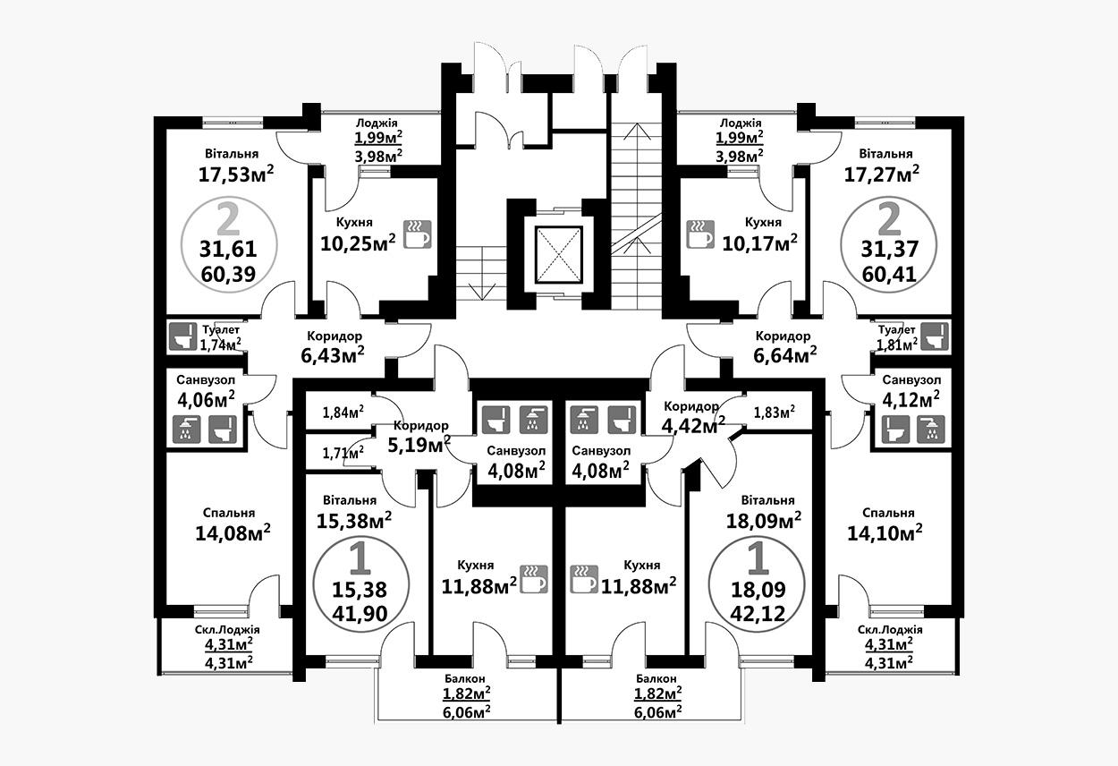 Тракт 4 (1 підїзд / 1 поверх)