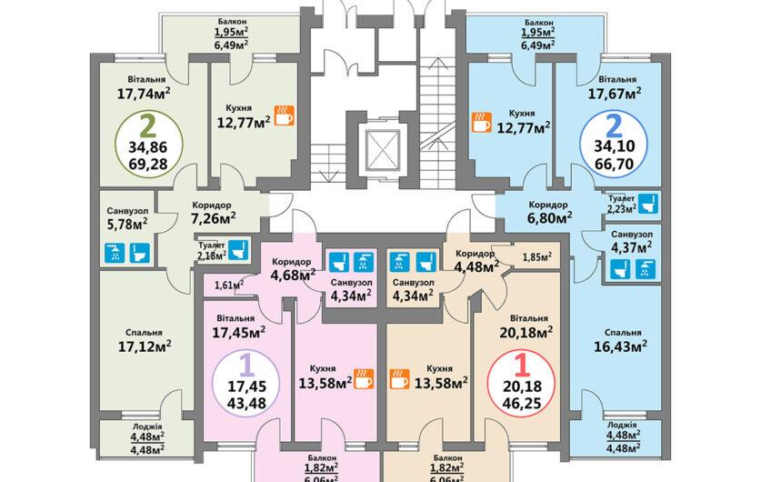 Купити квартиру №68, 2-кімнатна