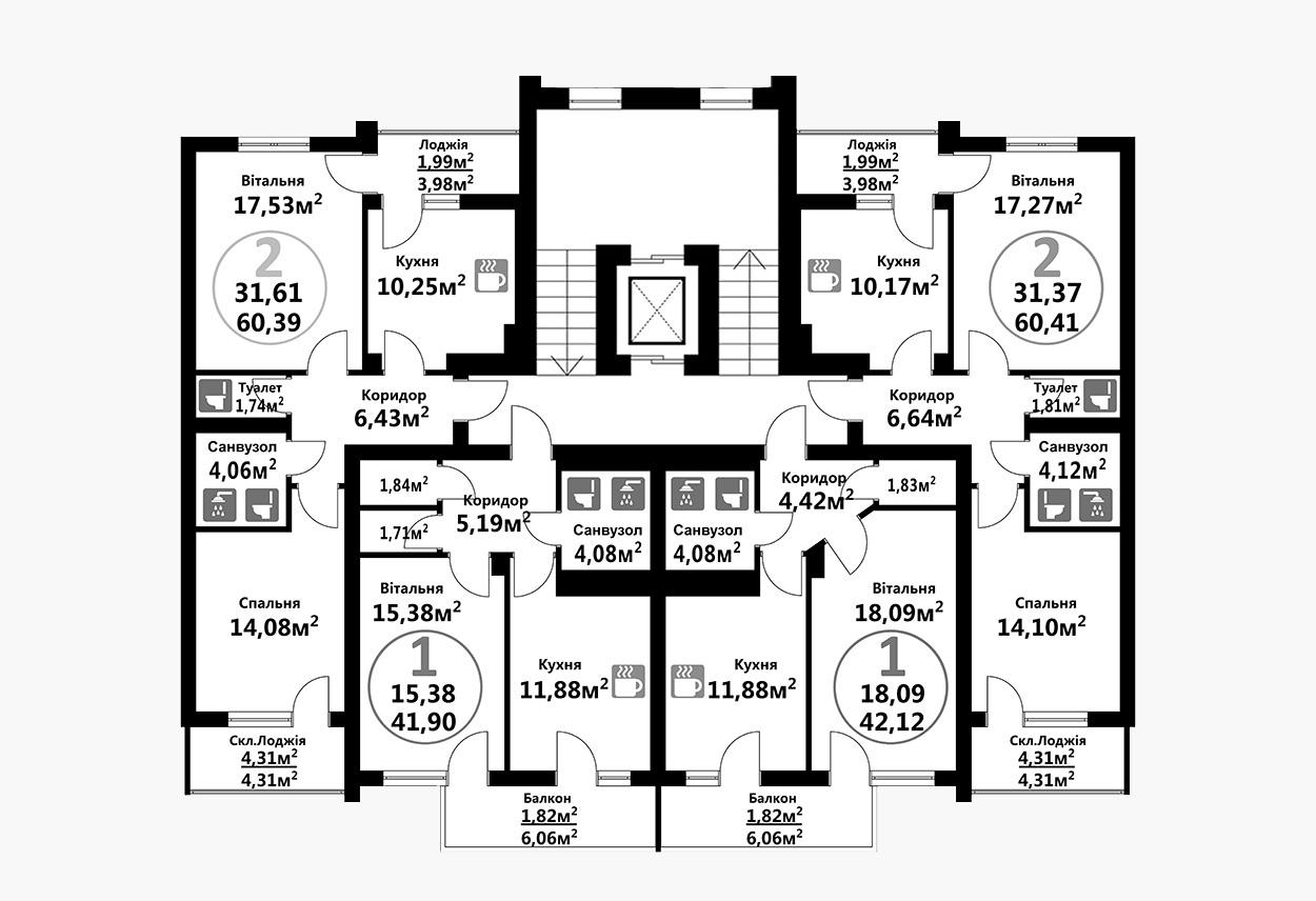 Тракт 4 (1 підїзд / 2 поверх)