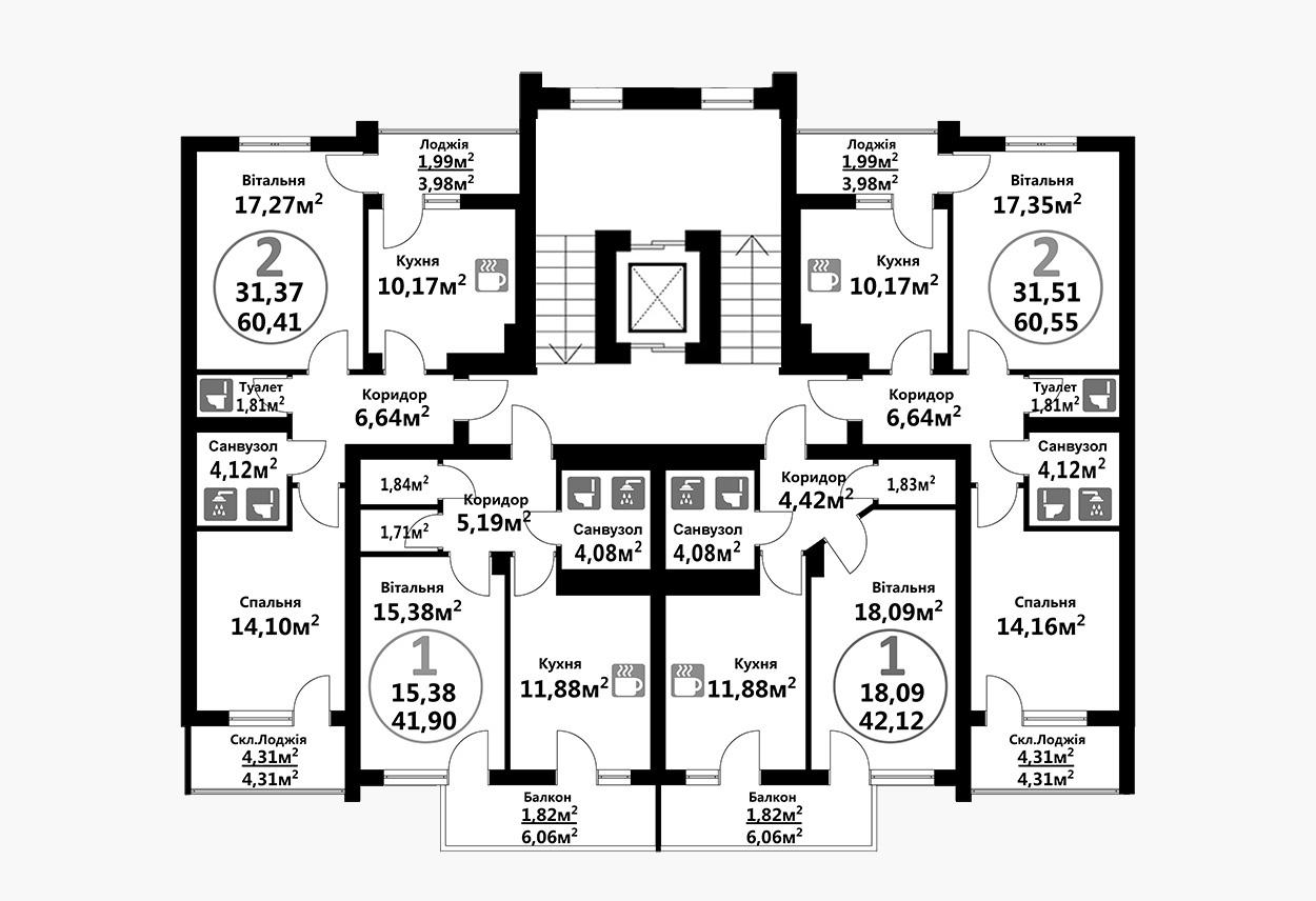 Тракт 4 (2 підїзд / 2 поверх)