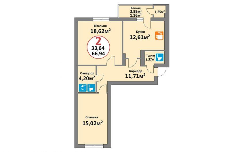Купити квартиру №245, 2-кімнатна