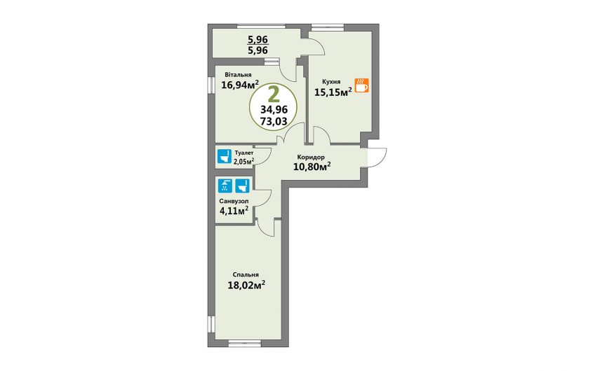 Купити квартиру №12, 2-кімнатна