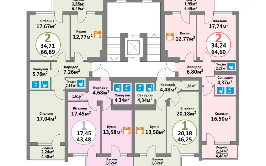 Купити квартиру №135, 2-кімнатна