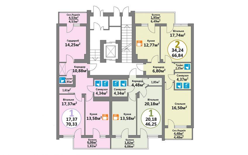 Купити квартиру №103, 1-кімнатна