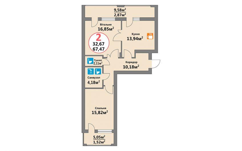 Купити квартиру №116, 2-кімнатна